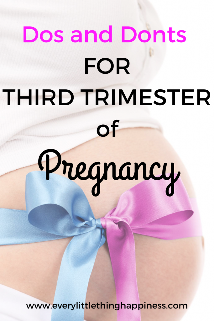 "Baby  Bump decorated with Blue and pink ribbon with Text written ""Dos and Donts For Third Trimester of Pregnancy"