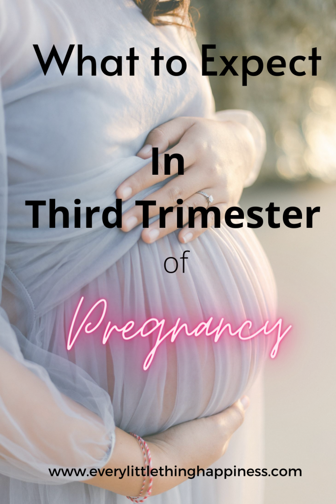 "A lady caressing her baby bump and text written on the image says "" What to expect in Third Trimester of Pregnancy"""