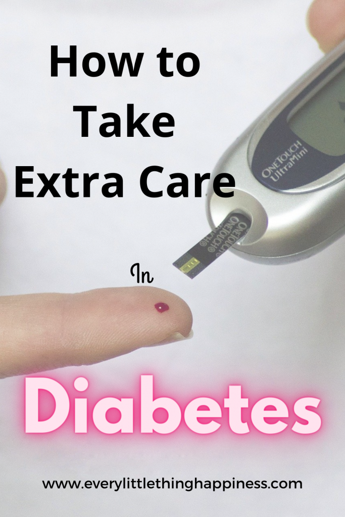 "Image of Blood sugar level testing device with text ""How to take extra care in Diabetes"""