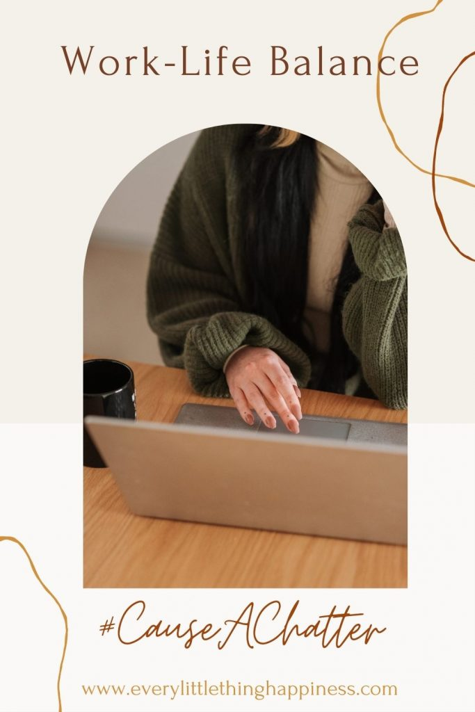 Work-Life Balance Image of a woman's hand on a laptop Cause A chatter www.everylittlethinghappiness.com.  Save the Image on Pinterest